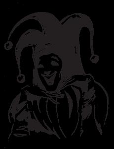 Fool illustration black - hands on chin