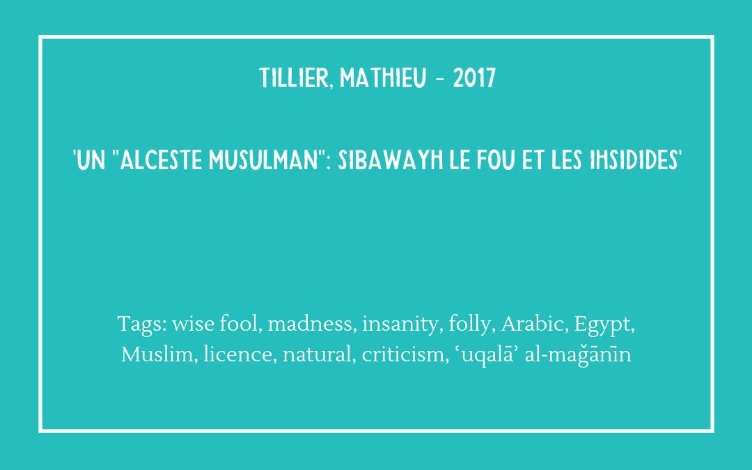 Bibliography - Tillier Mathieu - Alceste Musulman