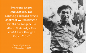 Photo and quotation - Rubinstein the Warsaw Ghetto Jester c. 1941