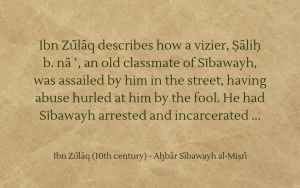 Ibn Zūlāq on the wise fool Sībawayh