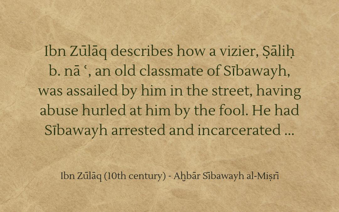 Ibn Zūlāq on the wise fool Sībawayh