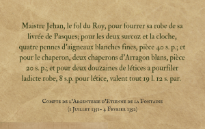 Fools and jesters in the court accounts of the French Duke of Bourgogne