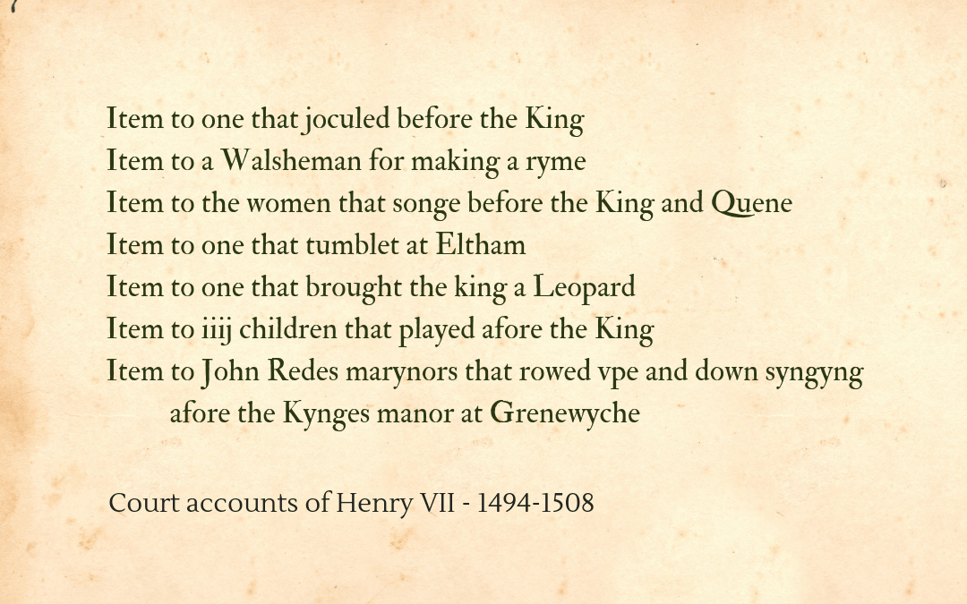 Fools and jesters in the court accounts of Henry VII