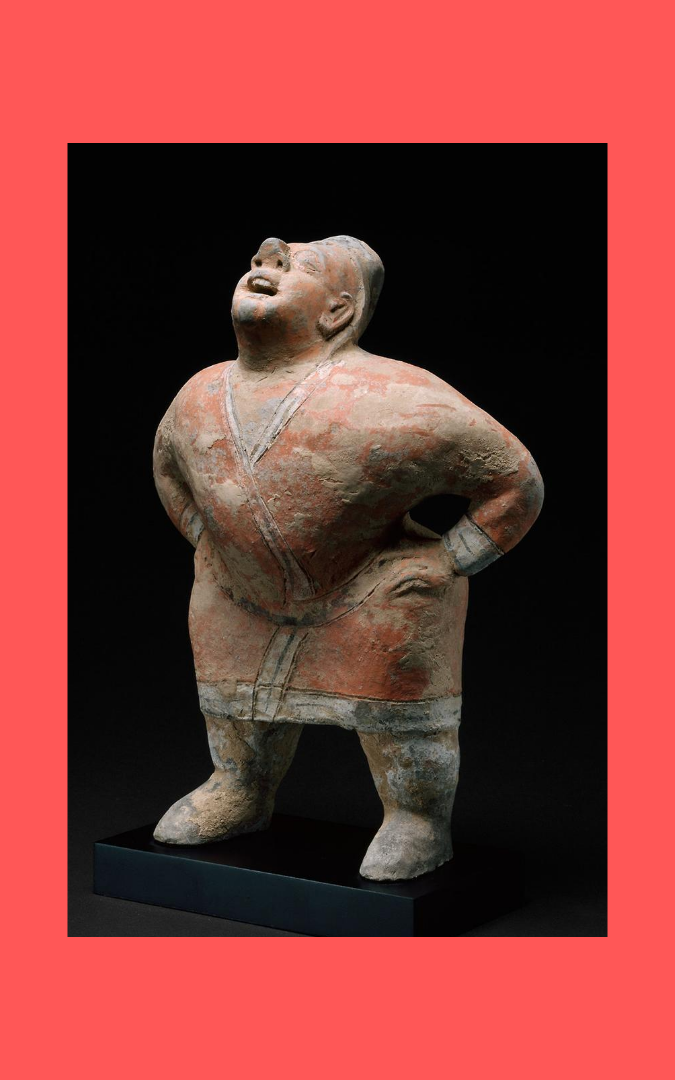 Credit: Entertainer (tomb figure), Northern dynasties, 6th century, buff earthenware with pigment; gift of Stanley Herzman in memory of Gladys Wolfson Herzman, Asian Art Gallery 105, Art Institute of Chicago, public domain.