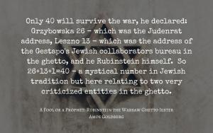 Quotation - Rubinstein the Warsaw Ghetto fool