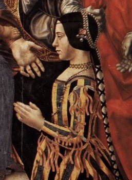 Image credit: portrait of Beatrice d'Este, c. 1494-95, detail from the Pala Sforzesca, in the Pinacoteca di Brera, Milan, public domain