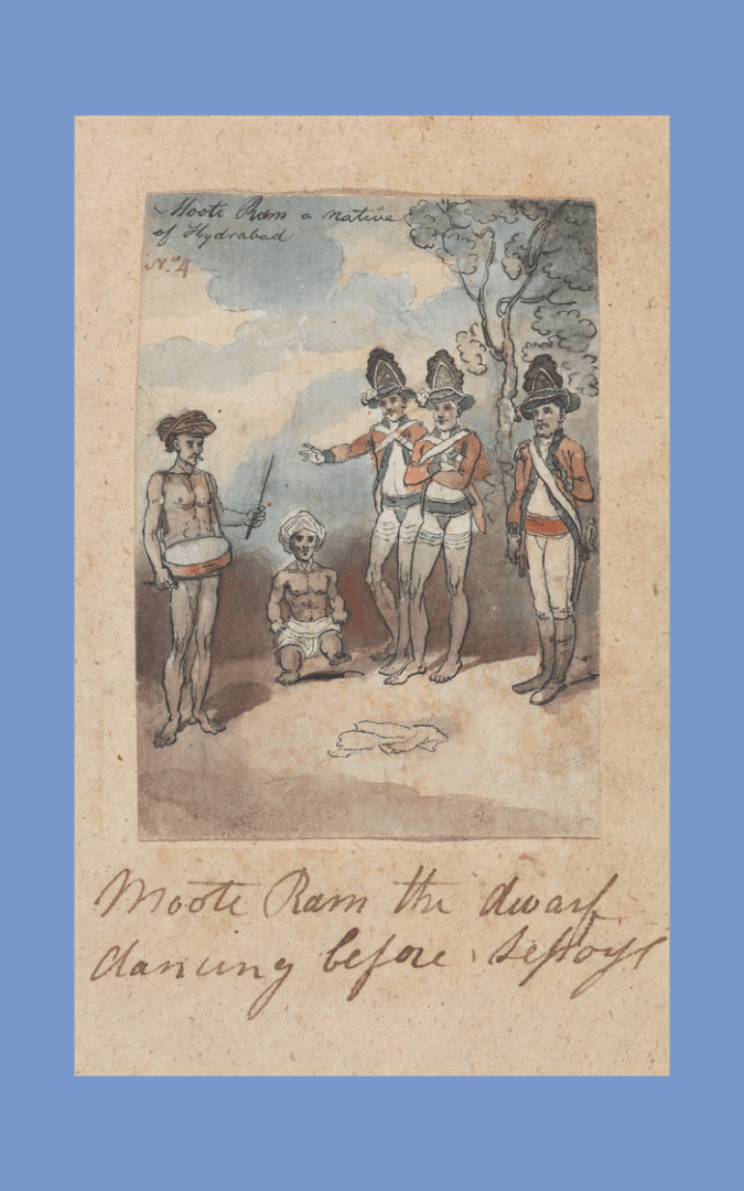 Credit: Moote Ram the Dwarf Dancing before Sepoys (c. 1792-98), Robert Mabon (d. 1798), Yale Center for British Art, Paul Mellon Collection, B1977.14.22260, public domain