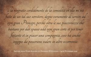 Quotation - Duke Alfonso to Federico II Gonzaga - letter 1525 - Italian