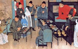 Painting - Han Xizai's Night Party韓熙載夜宴圖 (detail), by Gu Hanzhong顧閎中 (937-75), Southern Tang Dynasty; Palace Museum, Beijing, public domain