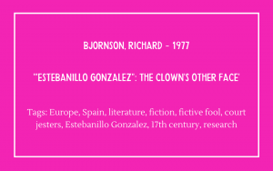 Richard Bjornson - Estebanillo Gonzalez