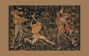 Tapestry - fool or jester and musician