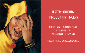 Painting - Jester looking through fingers