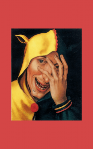 Painting - laughing jester looking through fingers