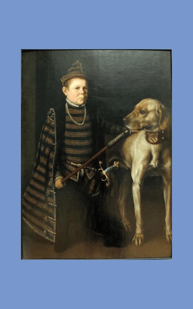 Image credit: 'Cardinal Granvelle's Dwarf with a Dog' (c. 1549-60), Antonis Mor (1519-75) - Louvre Museum, Paris, public domain; photo credit: Sailko