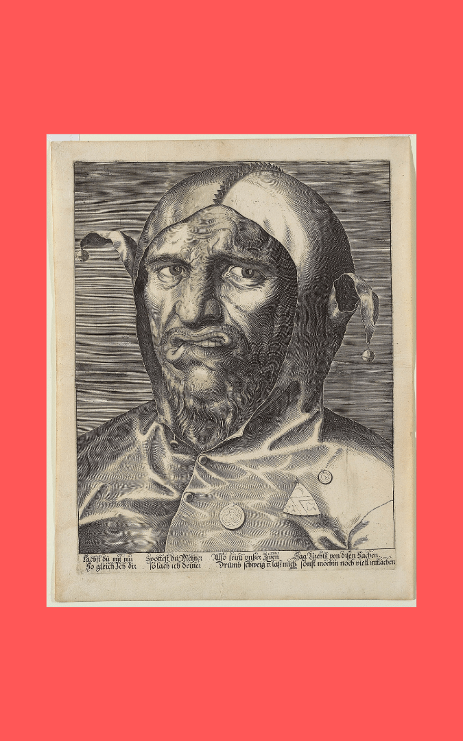 IMAGE CREDIT: Large Head of a Jester (c. 1600), anon. German, engraving; copyright 2011, Art Gallery of Ontario, Gift of the Trier-Fodor Foundation, 1985; Google Art Project